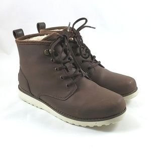 UGG Maple Waterproof Brown Wool Lined Leather Winter Short Boots